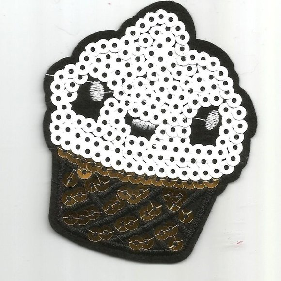 Other - 1pc Cupcake Dessert Sequin Iron on Patch Applique